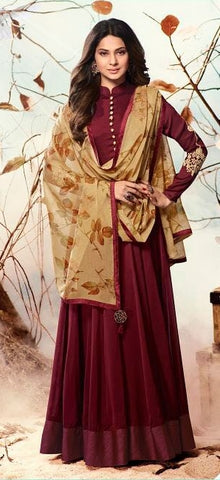 Maroon Beige Gown Style Anarkali Suit With Dupatta