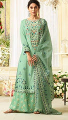 Sea Blue Silk Party Wear  Salwar Suit With  Dupatta