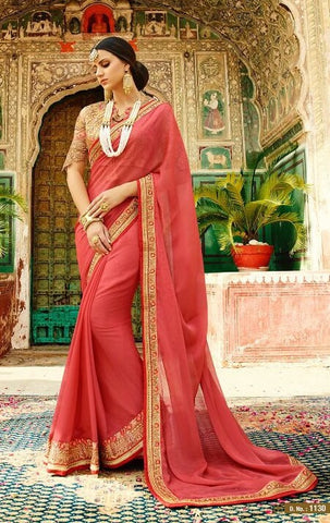 Red Designer Saree With Beige Blouse
