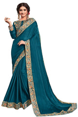 Teal Blue Georgette Party Wear Saree With Teal Blue Blouse