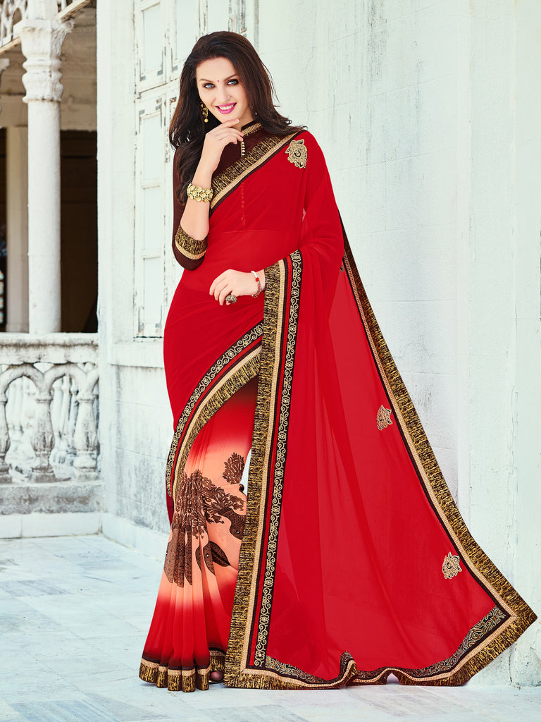 a4afc2e127 ... Stone Work Saree With Blouse. red,georgette,Daily wear designer saree