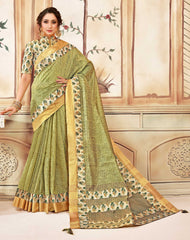 Green Cotton Casual Wear Saree With Beige Blouse