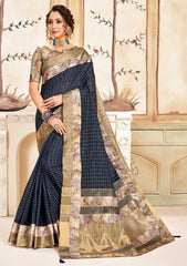 Navy Blue Cotton Casual Wear Saree With Gold Blouse