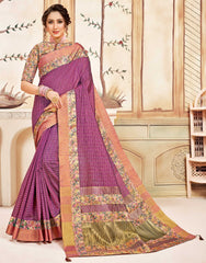 Pink Cotton Casual Wear Saree With Multi Blouse