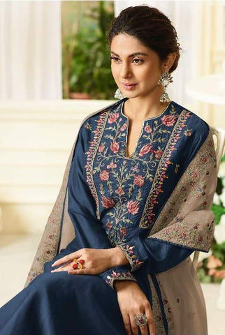 Blue Silk Party Wear  Salwar Suit With  Dupatta