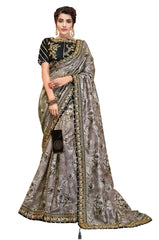 Grey Digital Print Silk Party Wear Saree With Black Blouse