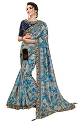 Blue Digital Print Silk Party Wear Saree With Blue Blouse
