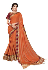 Orange Silk Georgette Party Wear Saree With Maroon Blouse