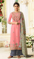 Pink Silk Party Wear  Suit With  Dupatta