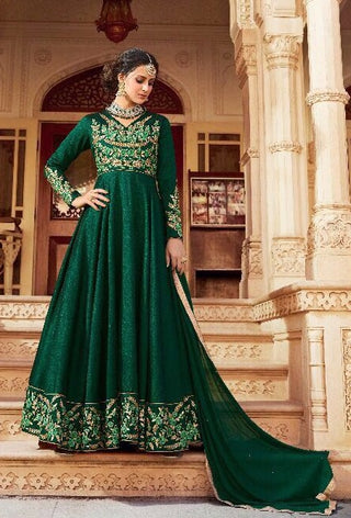 Green Silk Embroidered Abaya Style Anarkali Type Dress