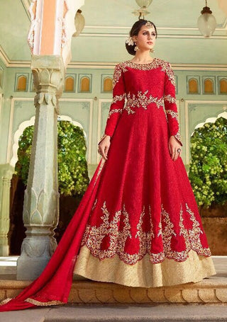 Red With Gold Border Silk Anarkali Dress With Dupatta
