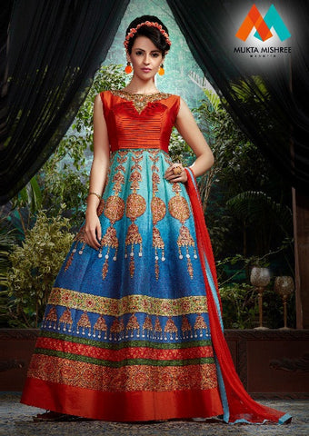 Blue , Red,Banglori silk,Designer party wear suits