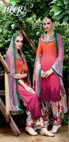 Suits Pink & orange,Pure Bemberg chiffon