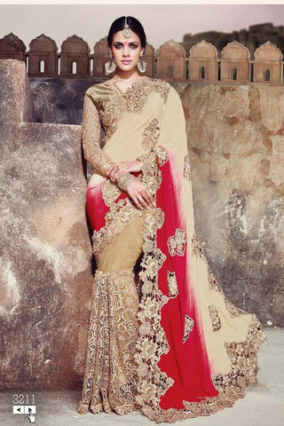 Saree Beige , Red,Crepe