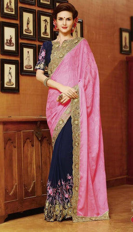 Saree Pink , Blue,Georgette