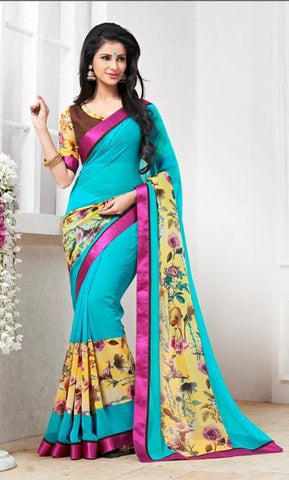 Blue,Georgette,designer causal broder saree with printed blouse