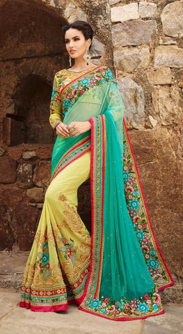 Lime yellow plus sea green,Net ,Heavy bridal wedding saree with heavy embroidery blouse