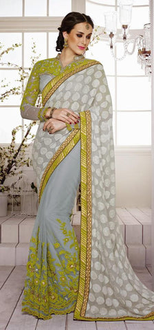 Beige , Red,Faux Crepe Jacquard , Net,Designer wedding saree with heavy embroidery work