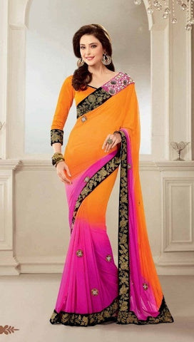 Saree Orange , pink,Georgette