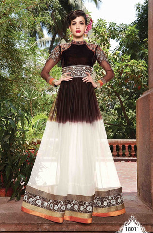 Brown and white designer embroidery long floor length anarkali semi stitched frock suits