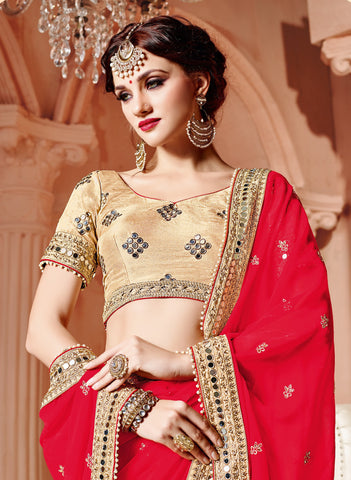Beige & Red Chiffon Saree With Golden Blouse