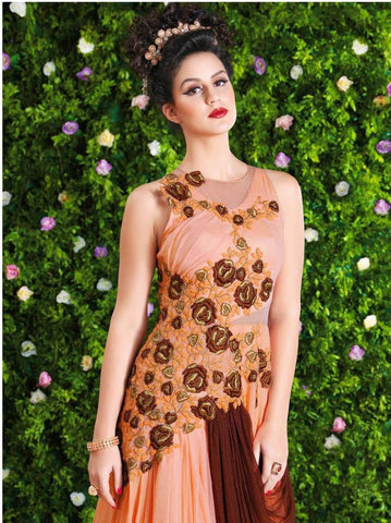 Heavy embroidery long floor length designer peach and brown anarkali gown
