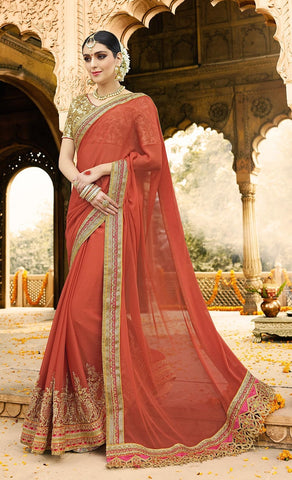 Red Georgette Saree With Golden Blouse