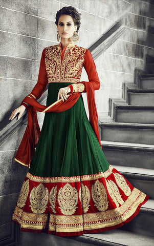 Green,Georgette,Heavy party wear designer ananarkali suits