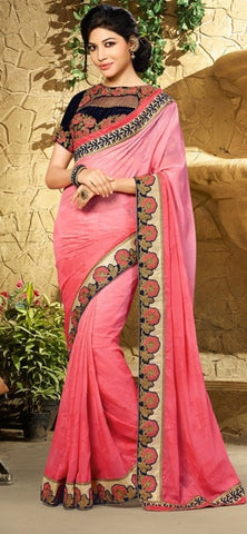 Pink ,Brasso,Party wear designer saree