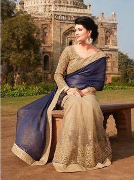 Blue,Chiffon,Heavy designer party wear saree