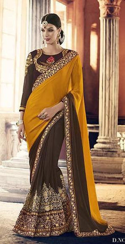 Yellow , brown,Georgette,Heavy party werar designer saree