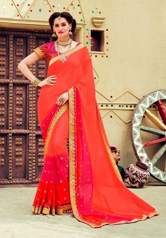 Red  ,Georgette,Party wear designer saree with designer blouse