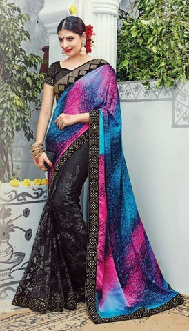 Black  ,Silk,heavy designer party wear saree