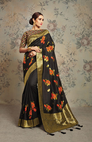 Black Silk Party Wear Saree With Black Blouse