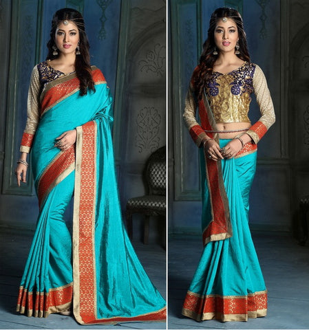 Blue,Art silk,Party wear designer saree