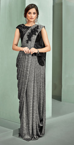 Grey Lycra Party Wear Saree With Black Blouse