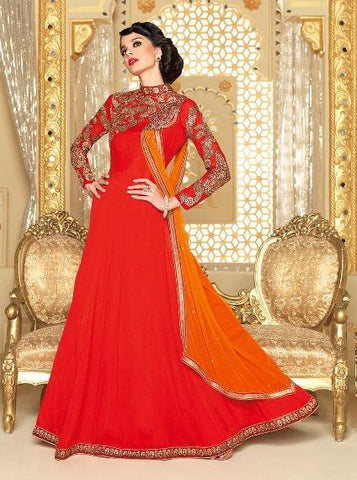 Red,Georgette,Heavy designer party wear styles suits