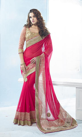 Pink,Viscose,Heavy designer party wear saree with designer blouse