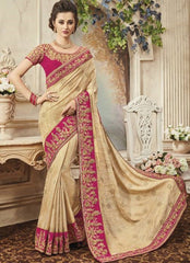 Beige Pure Silk Saree With Designer Blouse