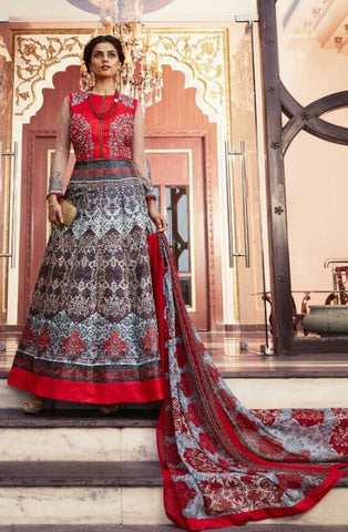 Red , Beige,Tafetta Silk,Party wear designer anarkali suits