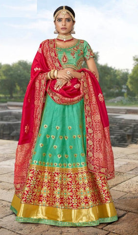 Green Banarsi Jacquard Party Wear Lehenga With Green Choli