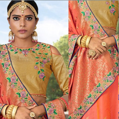 Orange Banarsi Jacquard Party Wear Lehenga With Beige Choli