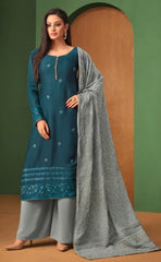 Blue Georgette Straight Salwar Kameez With  Dupatta