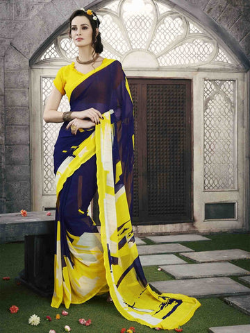 Saree Yellow & blue,Georgette