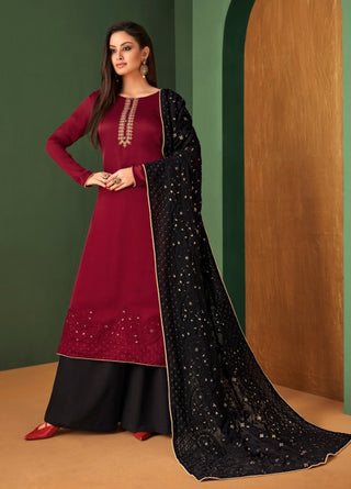 Red Georgette Straight Suit With  Dupatta