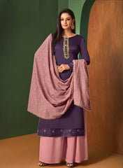 Purple Georgette Straight Salwar Kameez With  Dupatta