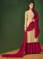 Beige Georgette Straight Salwar Kameez With  Dupatta