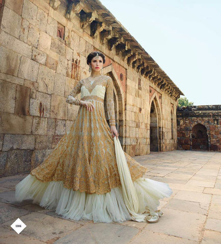 Cream,Georgette ,Heavy designer wedding wear suits