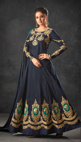 Blue Silk Party Wear  Anarkali Dress With Blue Dupatta