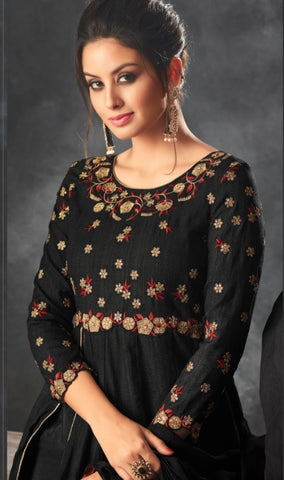 Black Silk Party Wear  Anarkali Suit With Black Dupatta